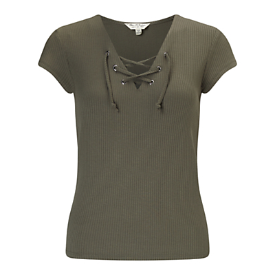 Lace Up T Shirt, Khaki - neckline: v-neck; sleeve style: capped; pattern: plain; style: t-shirt; predominant colour: khaki; occasions: casual; length: standard; fibres: viscose/rayon - stretch; fit: body skimming; sleeve length: short sleeve; texture group: jersey - clingy; pattern type: fabric; season: s/s 2016; wardrobe: highlight; embellishment location: bust