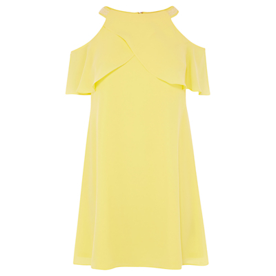 Marley Anne Trim Dress, Lemon - length: mid thigh; pattern: plain; style: sundress; predominant colour: primrose yellow; occasions: evening, occasion; fit: soft a-line; fibres: polyester/polyamide - 100%; neckline: crew; shoulder detail: cut out shoulder; sleeve length: short sleeve; sleeve style: standard; texture group: crepes; pattern type: fabric; season: s/s 2016