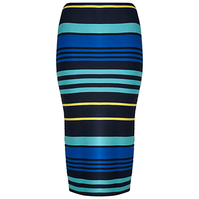 Stripe Rib Pencil Skirt, Multi - length: below the knee; fit: tight; waist: high rise; hip detail: fitted at hip; predominant colour: turquoise; secondary colour: black; occasions: casual, creative work; fibres: polyester/polyamide - stretch; style: tube; texture group: jersey - clingy; pattern type: fabric; pattern: horizontal stripes (bottom); multicoloured: multicoloured; season: s/s 2016