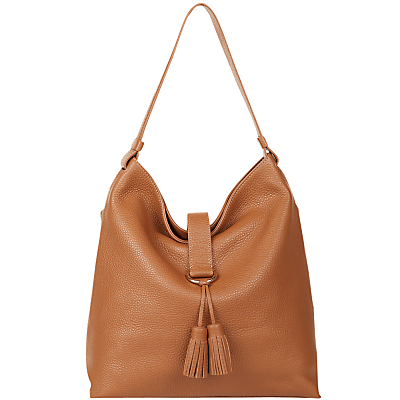 Highgate Hobo Bag, Tan - predominant colour: tan; occasions: casual, creative work; type of pattern: standard; style: tote; length: handle; size: standard; material: leather; embellishment: tassels; pattern: plain; finish: plain; season: s/s 2016; wardrobe: highlight