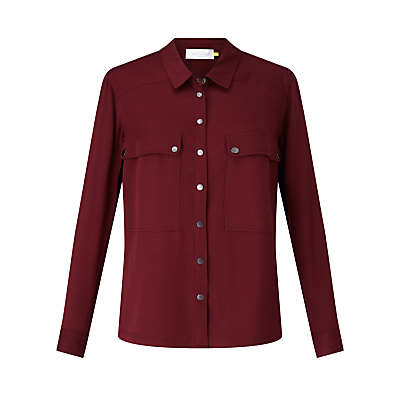 Twill Pocket Shirt - neckline: shirt collar/peter pan/zip with opening; pattern: plain; length: below the bottom; style: shirt; predominant colour: burgundy; occasions: casual, creative work; fibres: viscose/rayon - 100%; fit: straight cut; sleeve length: long sleeve; sleeve style: standard; bust detail: bulky details at bust; pattern type: fabric; texture group: woven light midweight; season: s/s 2016; wardrobe: highlight
