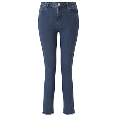 Lizzie Ankle Grazer Trousers - pattern: plain; pocket detail: traditional 5 pocket; waist: mid/regular rise; predominant colour: denim; occasions: casual, creative work; length: ankle length; fibres: cotton - stretch; texture group: denim; fit: skinny/tight leg; pattern type: fabric; style: standard; season: s/s 2016; wardrobe: highlight