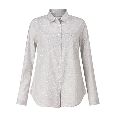 Paisley Print Shirt, Silver Grey/White - neckline: shirt collar/peter pan/zip with opening; waist detail: fitted waist; style: shirt; pattern: paisley; secondary colour: white; predominant colour: light grey; occasions: casual; length: standard; fibres: cotton - 100%; fit: straight cut; sleeve length: long sleeve; sleeve style: standard; texture group: cotton feel fabrics; pattern type: fabric; pattern size: standard; season: s/s 2016