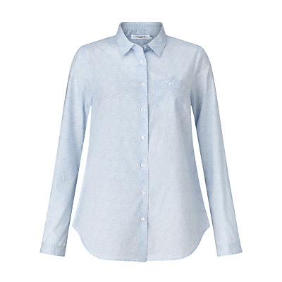 Stencil Floral Print Shirt, Pale Blue/White - neckline: shirt collar/peter pan/zip with opening; waist detail: fitted waist; style: shirt; pattern: paisley; secondary colour: white; predominant colour: pale blue; occasions: casual; length: standard; fibres: cotton - 100%; fit: straight cut; sleeve length: long sleeve; sleeve style: standard; texture group: cotton feel fabrics; pattern type: fabric; pattern size: light/subtle; season: s/s 2016