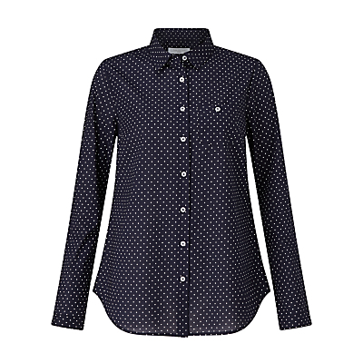 Pin Dot Print Shirt, Navy/White - neckline: shirt collar/peter pan/zip with opening; style: shirt; pattern: polka dot; secondary colour: white; predominant colour: navy; occasions: casual; length: standard; fibres: cotton - 100%; fit: straight cut; sleeve length: long sleeve; sleeve style: standard; texture group: cotton feel fabrics; pattern type: fabric; pattern size: standard; season: s/s 2016; wardrobe: highlight