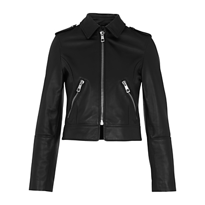 Brooke Leather Biker Jacket, Black - pattern: plain; style: biker; collar: standard biker; predominant colour: black; occasions: casual, creative work; length: standard; fit: tailored/fitted; fibres: leather - 100%; sleeve length: long sleeve; sleeve style: standard; texture group: leather; collar break: high/illusion of break when open; pattern type: fabric; season: s/s 2016; wardrobe: basic