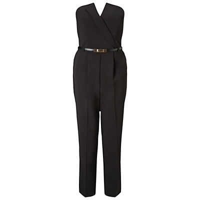 Tux Jumpsuit, Black - length: standard; neckline: strapless (straight/sweetheart); fit: tailored/fitted; pattern: plain; sleeve style: strapless; waist detail: belted waist/tie at waist/drawstring; predominant colour: black; occasions: evening, occasion; fibres: polyester/polyamide - 100%; hip detail: subtle/flattering hip detail; sleeve length: sleeveless; texture group: crepes; style: jumpsuit; pattern type: fabric; season: s/s 2016; wardrobe: event