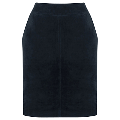 Suede Skirt - length: mid thigh; pattern: plain; style: pencil; fit: tailored/fitted; waist: mid/regular rise; predominant colour: navy; occasions: evening, creative work; fibres: leather - 100%; pattern type: fabric; texture group: suede; season: s/s 2016; wardrobe: highlight