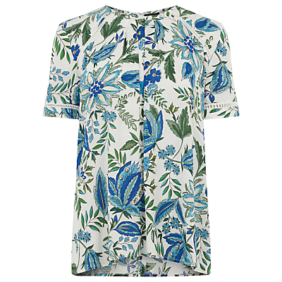 Botanical Floral Trim Top, Neutral Print - style: t-shirt; predominant colour: white; secondary colour: diva blue; occasions: casual, creative work; length: standard; fibres: polyester/polyamide - 100%; fit: straight cut; neckline: crew; sleeve length: short sleeve; sleeve style: standard; pattern type: fabric; pattern: florals; texture group: woven light midweight; multicoloured: multicoloured; season: s/s 2016; wardrobe: highlight