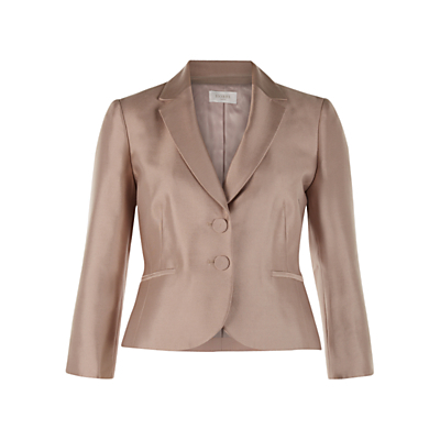 Dalilah Jacket, Latte Beige - pattern: plain; style: single breasted blazer; collar: standard lapel/rever collar; predominant colour: taupe; length: standard; fit: tailored/fitted; fibres: silk - 100%; occasions: occasion; sleeve length: long sleeve; sleeve style: standard; texture group: structured shiny - satin/tafetta/silk etc.; collar break: medium; pattern type: fabric; season: s/s 2016; wardrobe: event