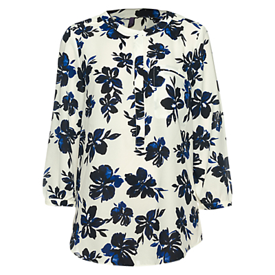 Fair Lady Floral Print Top, Cream - style: blouse; predominant colour: white; secondary colour: black; occasions: casual, creative work; length: standard; neckline: collarstand & mandarin with v-neck; fibres: cotton - 100%; fit: straight cut; sleeve length: 3/4 length; sleeve style: standard; texture group: cotton feel fabrics; pattern type: fabric; pattern: florals; season: s/s 2016