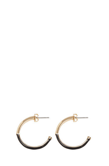 Circle Inlay Hoop Earrings - predominant colour: gold; secondary colour: black; occasions: casual, work, creative work; style: hoop; length: mid; size: standard; material: chain/metal; fastening: pierced; finish: plain; season: s/s 2016; wardrobe: basic