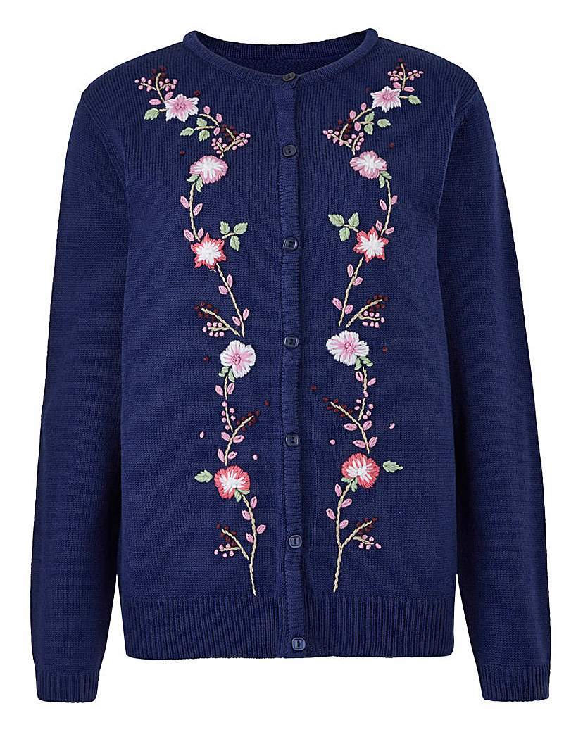 Embroidered Cardigan - neckline: round neck; pattern: plain; predominant colour: navy; occasions: casual, creative work; length: standard; style: standard; fibres: viscose/rayon - 100%; fit: standard fit; sleeve length: long sleeve; sleeve style: standard; texture group: knits/crochet; pattern type: knitted - fine stitch; embellishment: embroidered; season: s/s 2016