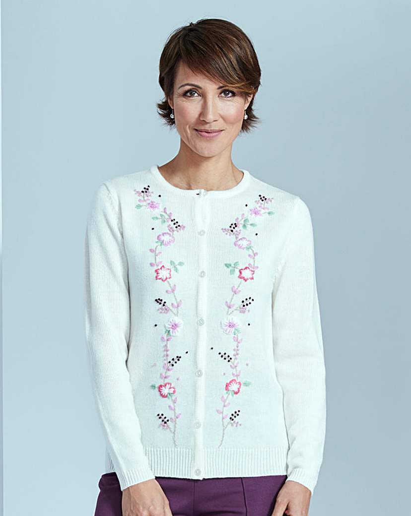 Embroidered Cardigan - neckline: round neck; pattern: plain; predominant colour: white; secondary colour: pink; occasions: casual, creative work; length: standard; style: standard; fit: standard fit; sleeve length: long sleeve; sleeve style: standard; texture group: knits/crochet; pattern type: knitted - fine stitch; embellishment: embroidered; fibres: viscose/rayon - mix; season: s/s 2016; wardrobe: highlight