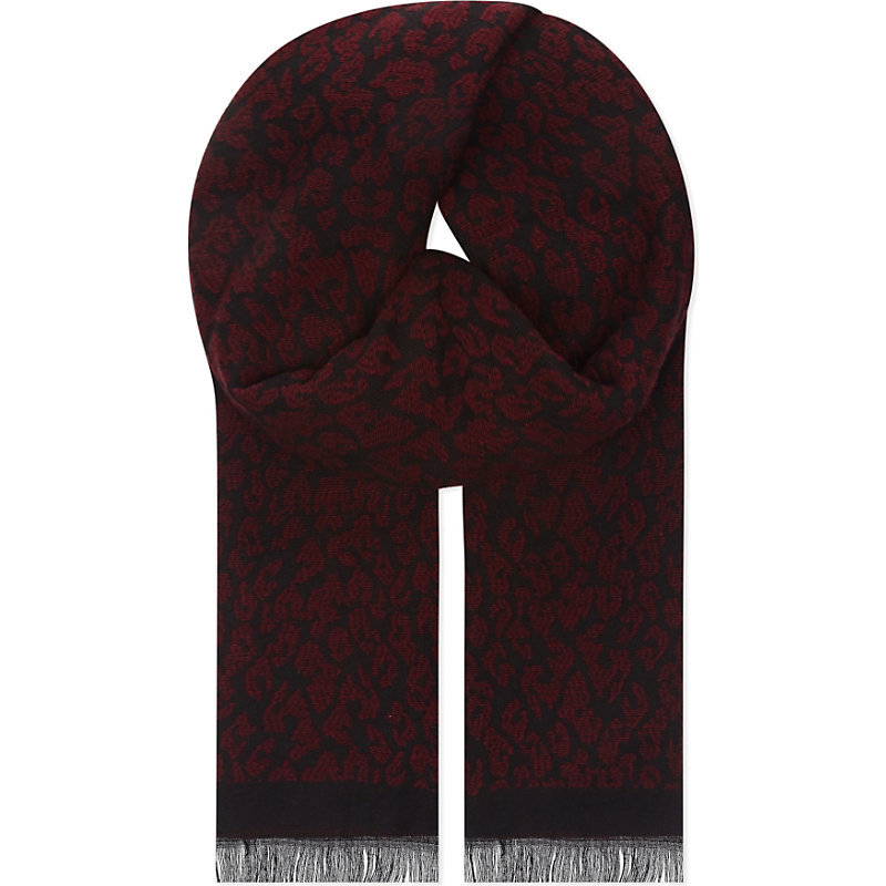 Epopee Leopard Print Scarf, Women's, Red - predominant colour: chocolate brown; occasions: casual, creative work; type of pattern: small; style: regular; size: standard; material: fabric; pattern: animal print; season: s/s 2016; wardrobe: highlight