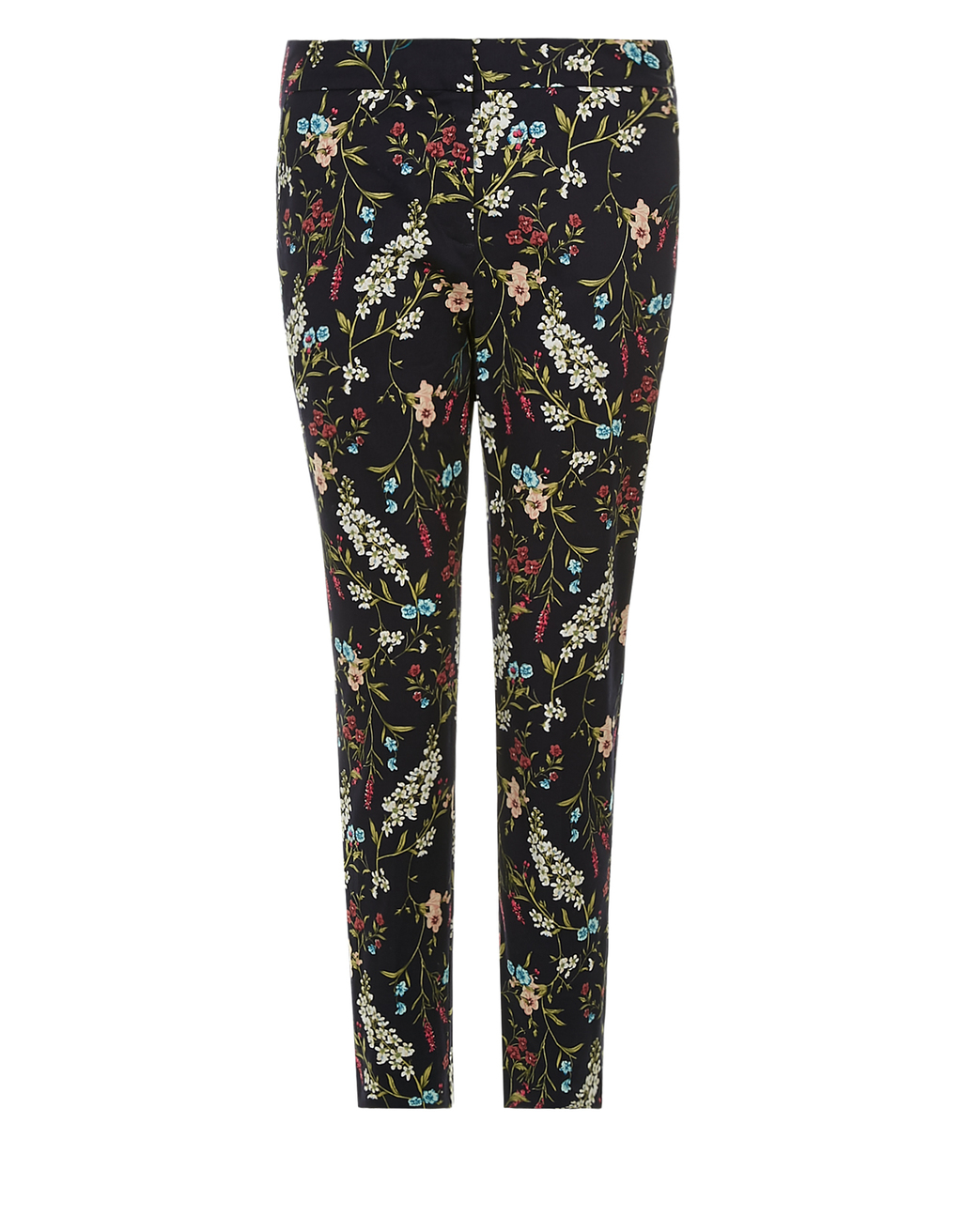 Sian Printed Trouser - length: standard; waist: mid/regular rise; secondary colour: burgundy; predominant colour: black; occasions: casual, creative work; fibres: cotton - stretch; fit: slim leg; pattern type: fabric; pattern: florals; texture group: woven light midweight; style: standard; pattern size: big & busy (bottom); multicoloured: multicoloured; season: s/s 2016; wardrobe: highlight