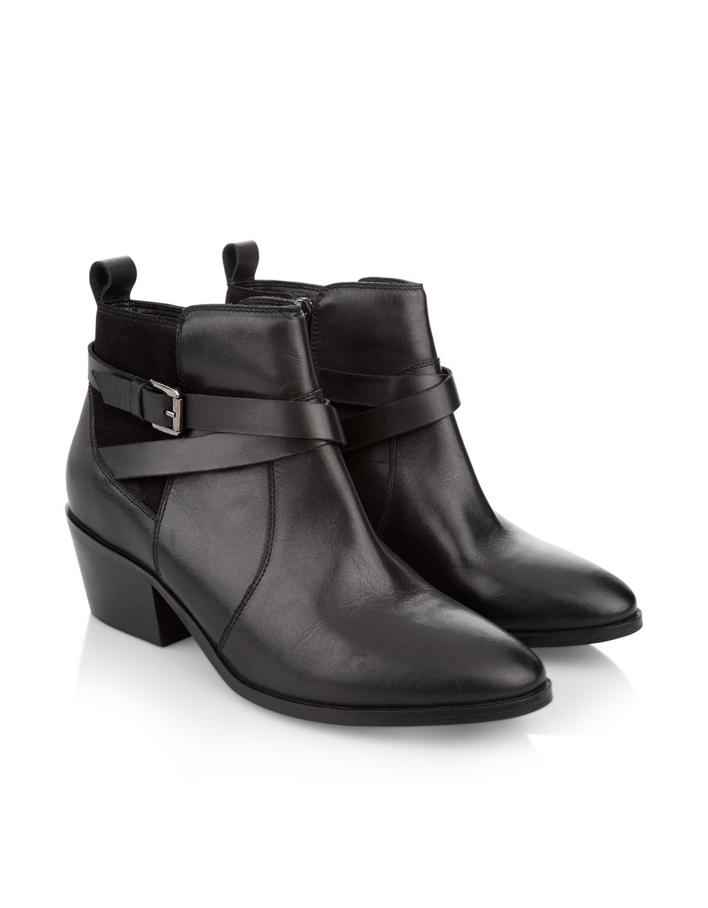 Estrella Buckle Ankle Boot - predominant colour: black; occasions: casual; material: leather; heel height: mid; heel: cone; toe: pointed toe; boot length: ankle boot; style: cowboy; finish: plain; pattern: plain; season: s/s 2016; wardrobe: basic