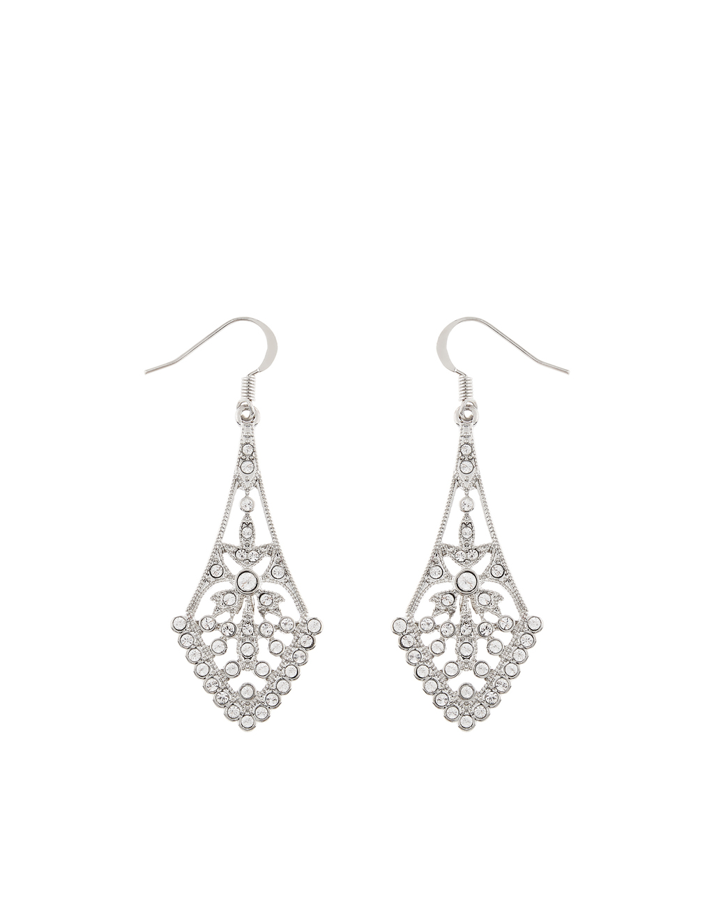 Charlston Crystal Chandelier Earrings - predominant colour: silver; occasions: evening; style: chandelier; length: long; size: large/oversized; material: chain/metal; fastening: pierced; finish: metallic; embellishment: crystals/glass; season: s/s 2016; wardrobe: event