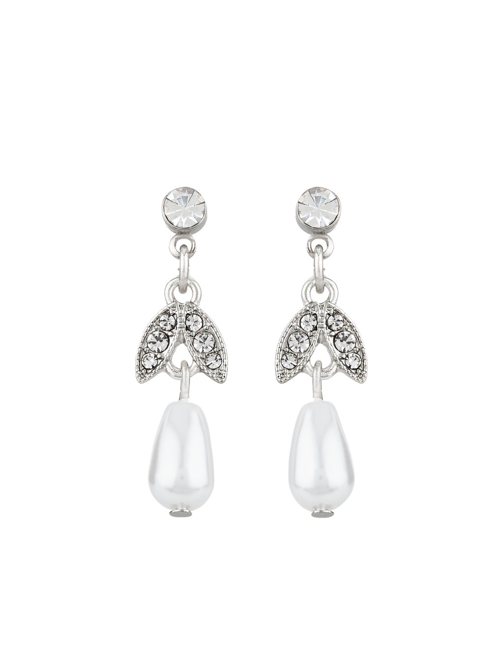 Classic Occasion Short Drop Earrings - secondary colour: ivory/cream; predominant colour: silver; occasions: evening, occasion; style: chandelier; length: long; size: large/oversized; material: chain/metal; fastening: pierced; finish: metallic; embellishment: crystals/glass; multicoloured: multicoloured; season: s/s 2016; wardrobe: event