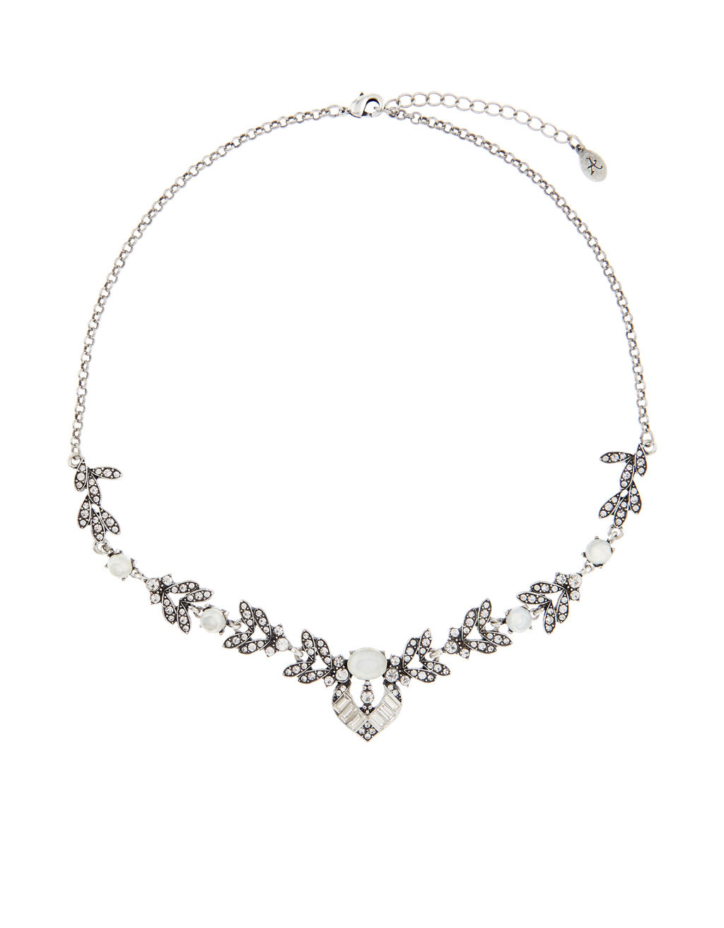 Katie Deco Statement Necklace - predominant colour: silver; occasions: evening, occasion; style: choker/collar/torque; length: short; size: standard; material: chain/metal; finish: plain; embellishment: crystals/glass; season: s/s 2016; wardrobe: event