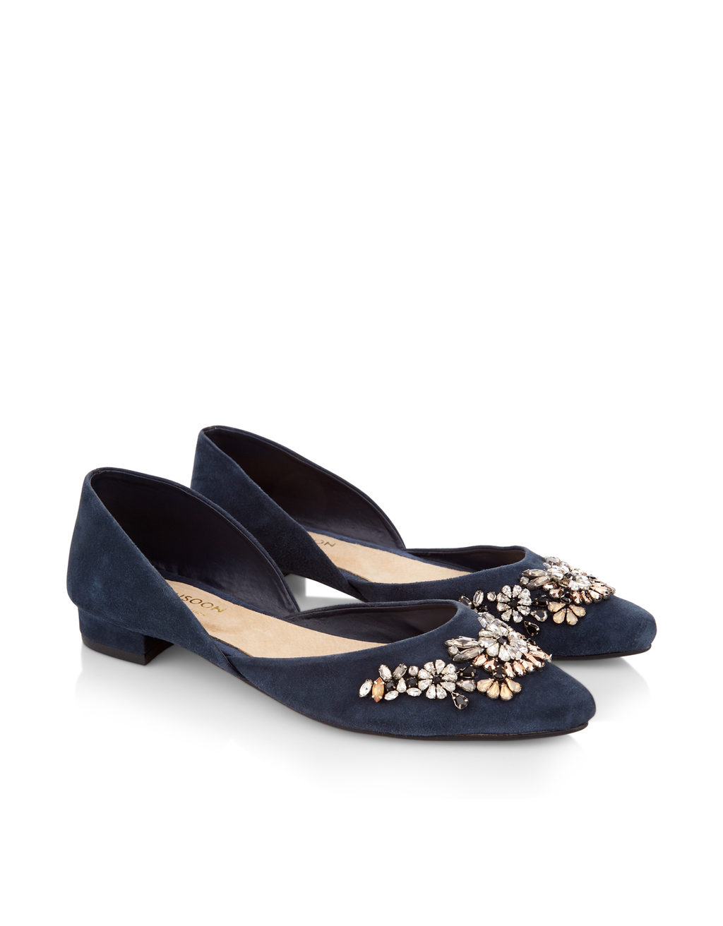 Erela Embellished Ballerina - predominant colour: navy; secondary colour: silver; occasions: casual, creative work; material: suede; heel height: flat; toe: round toe; style: ballerinas / pumps; finish: plain; pattern: plain; season: s/s 2016; wardrobe: basic