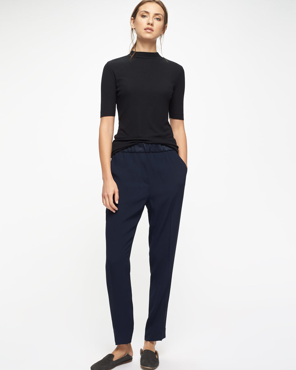 Relaxed Crepe Satin Stripe Trousers - length: standard; pattern: plain; style: peg leg; waist: mid/regular rise; predominant colour: black; occasions: work; texture group: crepes; fit: tapered; pattern type: fabric; fibres: viscose/rayon - mix; season: s/s 2016; wardrobe: basic