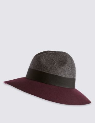 Pure Wool Block Colour Fed Hat - predominant colour: burgundy; secondary colour: charcoal; occasions: casual; type of pattern: light; style: fedora; size: standard; material: felt; pattern: colourblock; season: s/s 2016; wardrobe: highlight