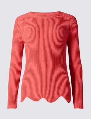 Pure Cotton Scallop Hem Crew Neck Jumper - neckline: round neck; pattern: plain; style: standard; predominant colour: coral; occasions: casual, creative work; length: standard; fibres: cotton - 100%; fit: standard fit; sleeve length: long sleeve; sleeve style: standard; texture group: knits/crochet; pattern type: knitted - fine stitch; season: s/s 2016; wardrobe: highlight