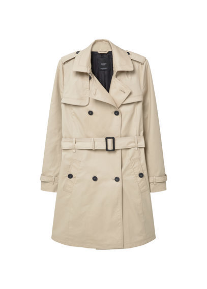 Classic Cotton Trench Coat - pattern: plain; shoulder detail: obvious epaulette; style: trench coat; collar: standard lapel/rever collar; length: mid thigh; predominant colour: stone; occasions: work; fit: tailored/fitted; fibres: cotton - 100%; waist detail: belted waist/tie at waist/drawstring; sleeve length: long sleeve; sleeve style: standard; texture group: cotton feel fabrics; collar break: medium; pattern type: fabric; season: s/s 2016