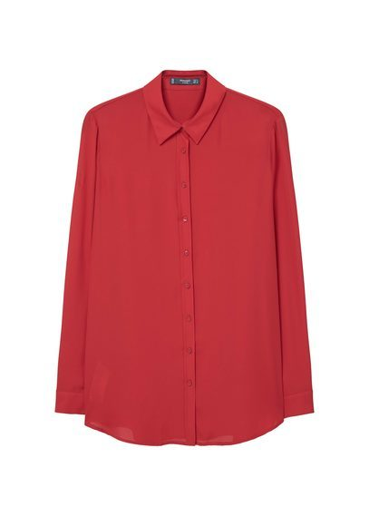 Flowy Shirt - neckline: shirt collar/peter pan/zip with opening; pattern: plain; style: shirt; predominant colour: true red; occasions: casual, creative work; length: standard; fibres: polyester/polyamide - 100%; fit: body skimming; sleeve length: long sleeve; sleeve style: standard; pattern type: fabric; texture group: other - light to midweight; season: s/s 2016; wardrobe: highlight