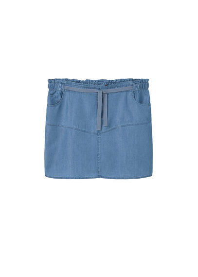 Denim Soft Skirt - length: mini; pattern: plain; waist: mid/regular rise; predominant colour: denim; occasions: casual, creative work; style: mini skirt; fibres: cotton - 100%; texture group: denim; fit: straight cut; pattern type: fabric; season: s/s 2016; wardrobe: basic