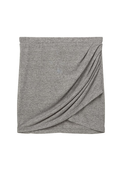 Draped Wrap Skirt - length: mid thigh; pattern: plain; style: wrap/faux wrap; waist: mid/regular rise; predominant colour: mid grey; occasions: casual, creative work; fibres: polyester/polyamide - mix; fit: straight cut; pattern type: fabric; texture group: jersey - stretchy/drapey; season: s/s 2016; wardrobe: basic