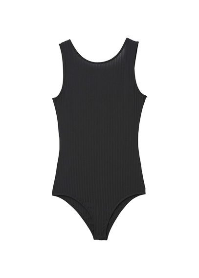 Ribbed Bodysuit - pattern: plain; sleeve style: sleeveless; predominant colour: black; occasions: casual; length: standard; fibres: polyester/polyamide - stretch; fit: tight; neckline: crew; sleeve length: sleeveless; texture group: jersey - clingy; pattern type: fabric; style: bodysuit; season: s/s 2016; wardrobe: basic