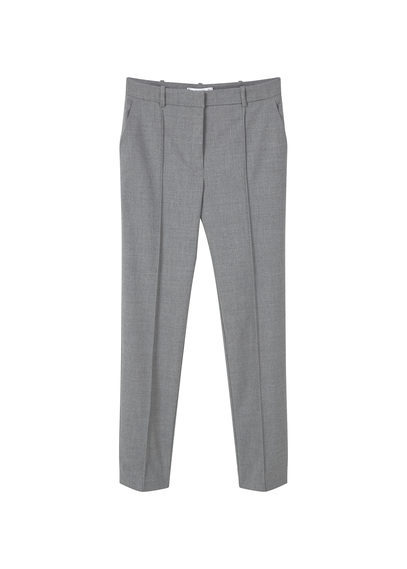 Wool Straight Fit Trousers - length: standard; pattern: plain; waist: mid/regular rise; predominant colour: mid grey; occasions: work; fibres: wool - mix; waist detail: feature waist detail; fit: straight leg; pattern type: fabric; texture group: woven light midweight; style: standard; season: s/s 2016; wardrobe: basic