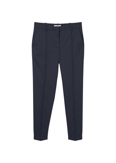 Wool Straight Fit Trousers - length: standard; pattern: plain; waist: mid/regular rise; predominant colour: navy; occasions: work, creative work; fibres: polyester/polyamide - stretch; fit: straight leg; pattern type: fabric; texture group: woven light midweight; style: standard; season: s/s 2016; wardrobe: basic