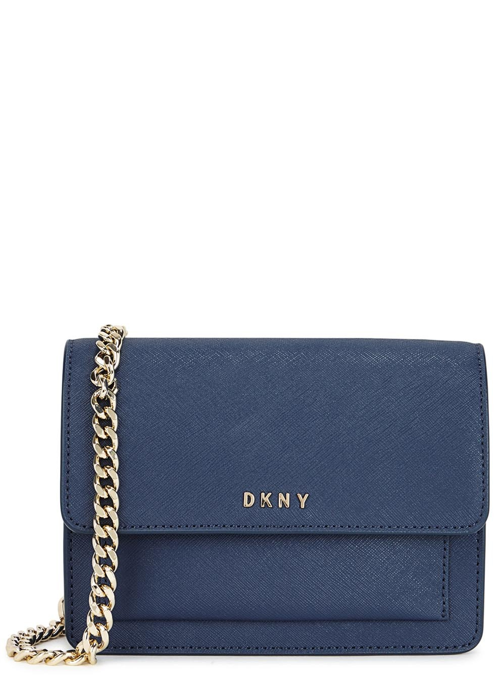 Mini Blue Leather Cross Body Bag - predominant colour: navy; secondary colour: gold; occasions: casual; type of pattern: standard; style: messenger; length: across body/long; size: small; material: leather; pattern: plain; finish: plain; embellishment: chain/metal; season: s/s 2016; wardrobe: highlight