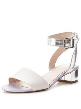 Sharna Balcony - predominant colour: silver; occasions: casual, creative work; material: leather; heel height: flat; ankle detail: ankle strap; heel: block; toe: open toe/peeptoe; style: standard; finish: metallic; pattern: plain; season: s/s 2016; wardrobe: basic