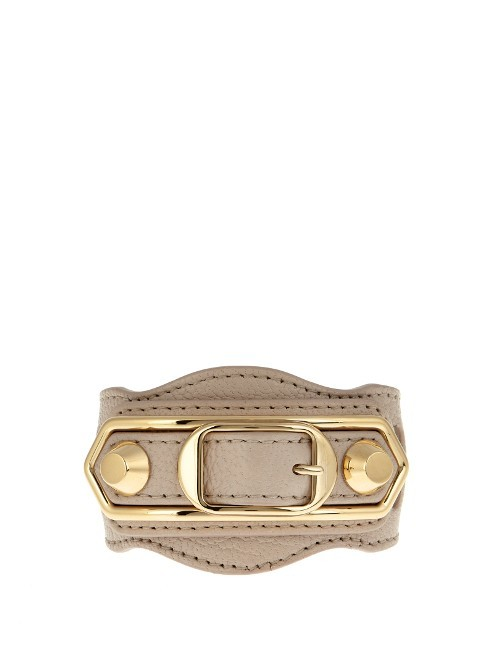 Classic Metallic Edge Leather Bracelet - predominant colour: taupe; secondary colour: gold; occasions: casual, creative work; style: cuff; size: large/oversized; material: leather; finish: plain; embellishment: chain/metal; season: s/s 2016; wardrobe: highlight