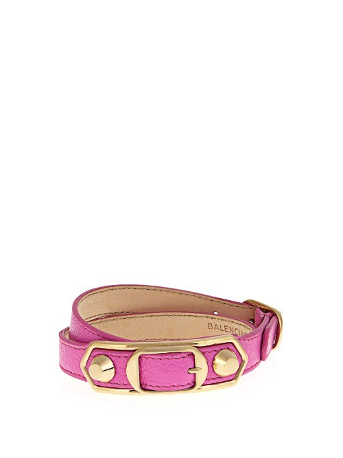 Classic Metallic Edge Leather Wraparound Bracelet - predominant colour: hot pink; secondary colour: gold; occasions: casual, creative work; style: buckle/wrap; size: large/oversized; material: leather; finish: plain; embellishment: chain/metal; season: s/s 2016