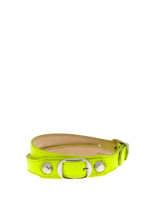 Classic Metallic Edge Leather Wraparound Bracelet - predominant colour: yellow; occasions: casual, creative work; style: buckle/wrap; size: standard; material: leather; finish: plain; embellishment: chain/metal; season: s/s 2016; wardrobe: highlight