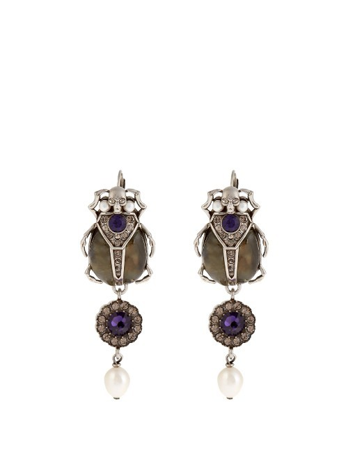 Pearl And Crystal Embellished Beetle Earrings - secondary colour: navy; predominant colour: gold; occasions: evening, occasion; style: chandelier; length: long; size: large/oversized; material: chain/metal; fastening: pierced; finish: plain; embellishment: jewels/stone; season: s/s 2016; wardrobe: event