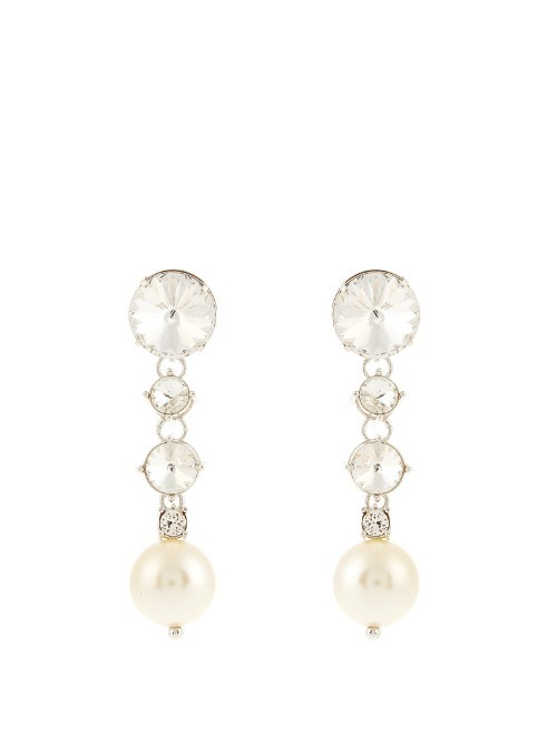 Faux Pearl And Crystal Embellished Earrings - predominant colour: ivory/cream; occasions: evening, occasion; style: drop; length: long; size: large/oversized; material: chain/metal; fastening: pierced; finish: metallic; embellishment: pearls; season: s/s 2016; wardrobe: event