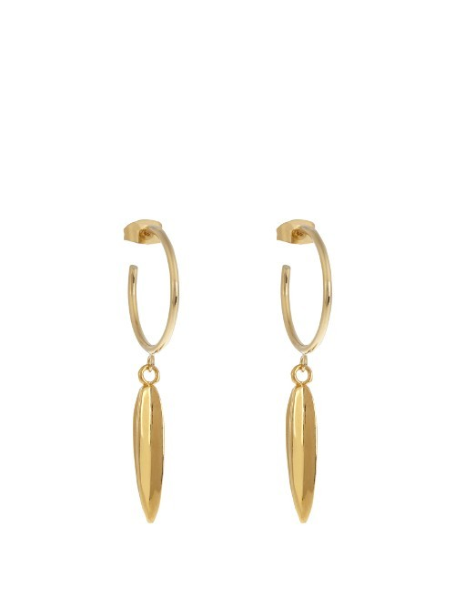 Nova Earrings - predominant colour: gold; occasions: casual, creative work; style: hoop; length: long; size: standard; material: chain/metal; fastening: pierced; finish: metallic; season: s/s 2016; wardrobe: basic