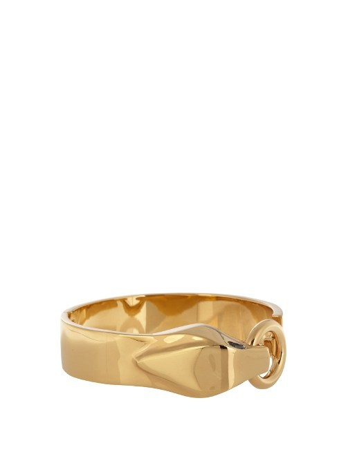 Serpent Brass Bracelet - predominant colour: gold; occasions: evening, occasion; style: bangle/standard; size: large/oversized; material: leather; finish: metallic; season: s/s 2016; wardrobe: event