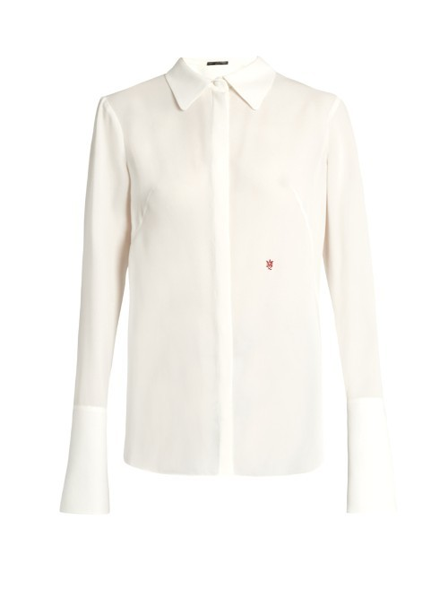 Logo Embroidered Silk Georgette Blouse - neckline: shirt collar/peter pan/zip with opening; sleeve style: bell sleeve; pattern: plain; style: shirt; predominant colour: ivory/cream; occasions: evening, work; length: standard; fibres: silk - 100%; fit: body skimming; sleeve length: long sleeve; texture group: silky - light; pattern type: fabric; season: s/s 2016; wardrobe: basic