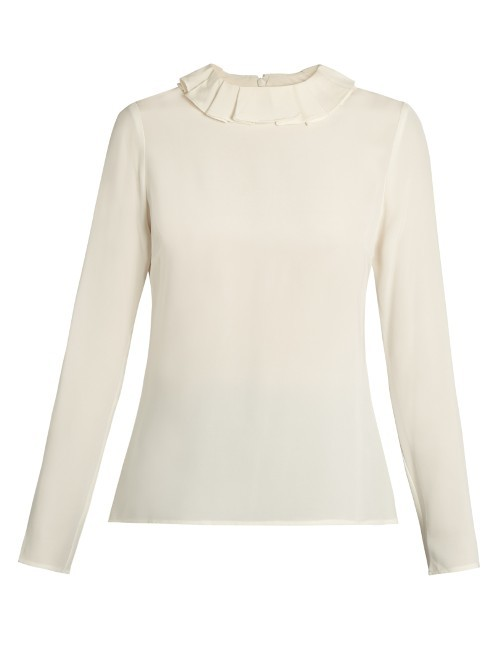 Cameo Ruffled Collar Silk Crepe Blouse - pattern: plain; style: blouse; predominant colour: ivory/cream; occasions: casual; length: standard; fibres: silk - 100%; fit: body skimming; neckline: crew; sleeve length: long sleeve; sleeve style: standard; texture group: crepes; pattern type: fabric; season: s/s 2016; wardrobe: basic