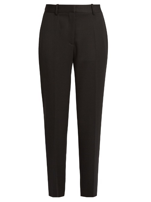 Cropped Tuxedo Trousers - length: standard; pattern: plain; waist: mid/regular rise; predominant colour: black; occasions: work; fibres: wool - 100%; hip detail: subtle/flattering hip detail; fit: slim leg; pattern type: fabric; texture group: other - light to midweight; style: standard; season: s/s 2016; wardrobe: basic