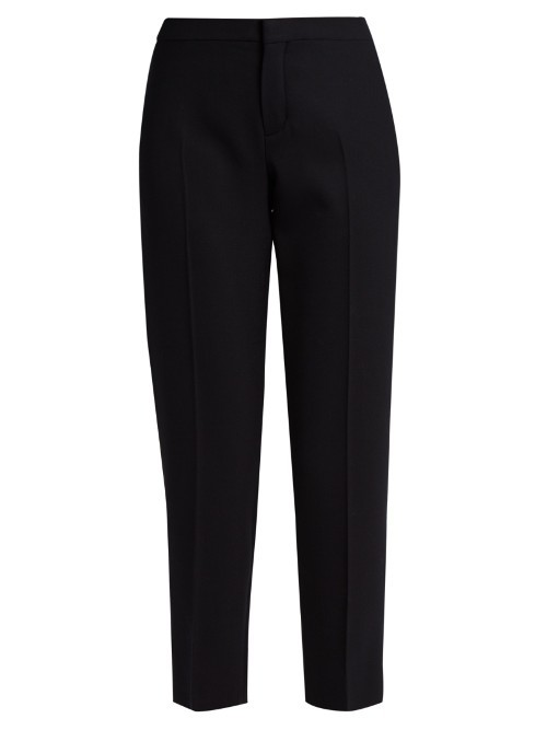 Slim Leg Wool Blend Cropped Trousers - pattern: plain; waist: mid/regular rise; predominant colour: black; occasions: work; length: ankle length; fibres: wool - mix; fit: slim leg; pattern type: fabric; texture group: woven light midweight; style: standard; season: s/s 2016; wardrobe: basic