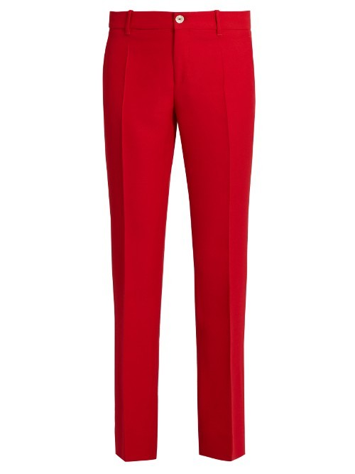 Mid Rise Kick Flare Wool And Silk Blend Trousers - length: standard; pattern: plain; waist: mid/regular rise; predominant colour: true red; occasions: casual, creative work; fibres: wool - mix; fit: slim leg; pattern type: fabric; texture group: other - light to midweight; style: standard; season: s/s 2016; wardrobe: highlight