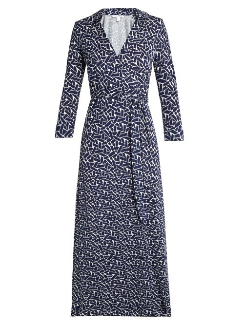 Abigail Dress - style: faux wrap/wrap; neckline: shirt collar/peter pan/zip with opening; length: ankle length; waist detail: belted waist/tie at waist/drawstring; secondary colour: white; predominant colour: navy; occasions: evening; fit: body skimming; fibres: silk - 100%; sleeve length: long sleeve; sleeve style: standard; pattern type: fabric; pattern: patterned/print; texture group: jersey - stretchy/drapey; multicoloured: multicoloured; season: s/s 2016; wardrobe: event